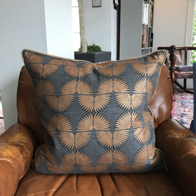 Gray & Copper Art Deco Pillow - Image 3 of 5