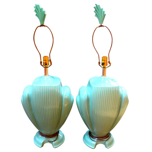 Hollywood Regency Mint Lamps - A Pair - Image 1 of 10