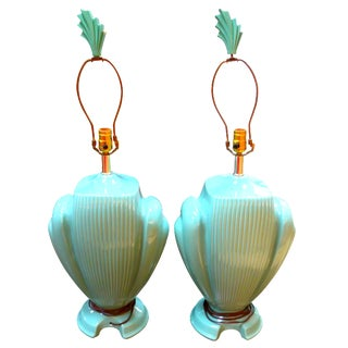Hollywood Regency Mint Lamps - A  Pair