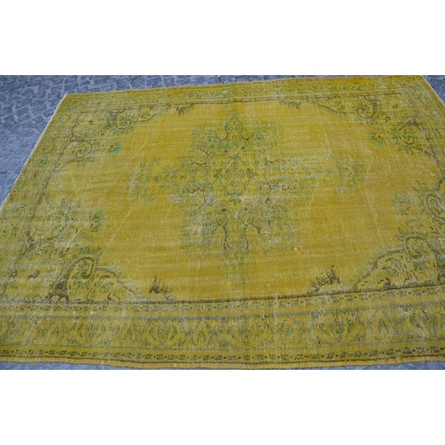 Turkish Handmade Yellow Rug - 6′1″ × 8′7″ - Image 4 of 6