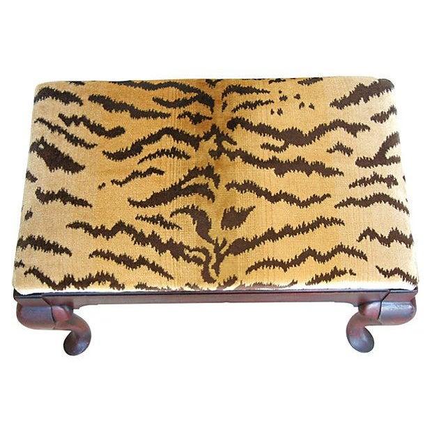 Vintage Scalamandre Le Tigre Silk Velvet Bench - Image 8 of 8