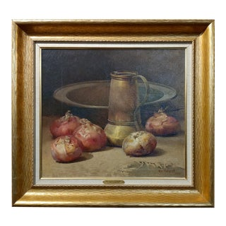 William Hubacek- Still Life with Onions -1908 Beautiful Oil painting