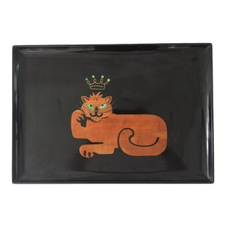 "Couroc of Monterey Rare ""King Cat"" Serving Tray"