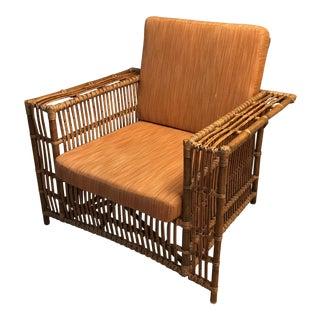 Vintage Rattan Armchair With Cushion