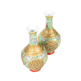 Antique Chinese Famille Rose Green & Gold Vases - A Pair