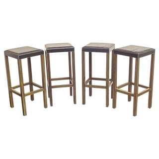 Vintage Leather & Zebrawood Barstools - Set of 4