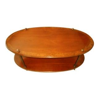 Vintage Brandt Burl Wood Inlay Oval Coffee Table