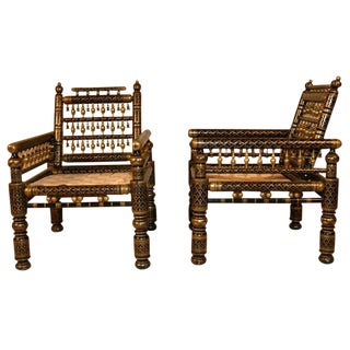 Painted Indian Wedding Chairs - A Pair