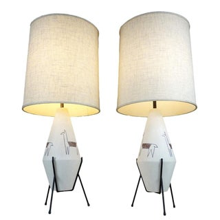 California Modernist Llama Table lamps - A Pair