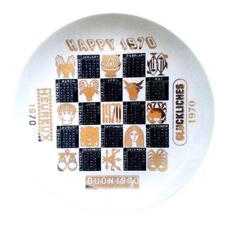 Piero Fornasetti Porcelain Calendar Plate for the Year 1970.
