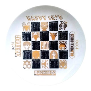 Piero Fornasetti Porcelain Calendar Plate for the Year 1970.
