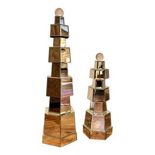 Modern Tiered Mirror Statues - A Pair