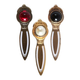 Vintage Brass & Jewel Tone Bookmarks- Set of 3
