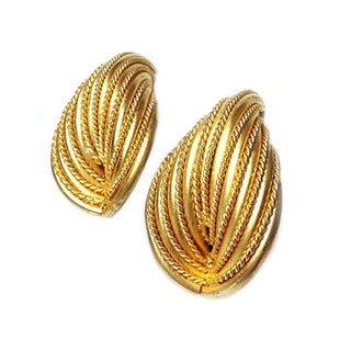Textured Gold-Tone Clip Back Earrings