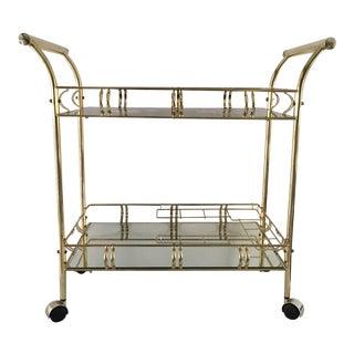 Kafka Hollywood Regency Style Brass Bar Cart