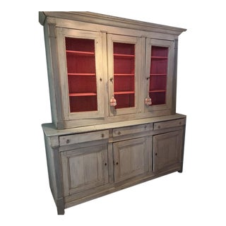 Antique Painted French Country Hutch