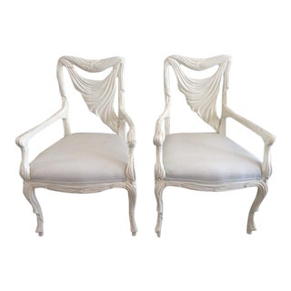 French Serge Roche White Open Arm Fauteuils Frames - A Pair
