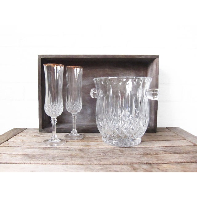 Image of Vintage Crystal Ice Bucket and Champagne Flutes