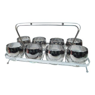 Mid-Century Silver Roly Poly Cocktail Glasses - Set of 8