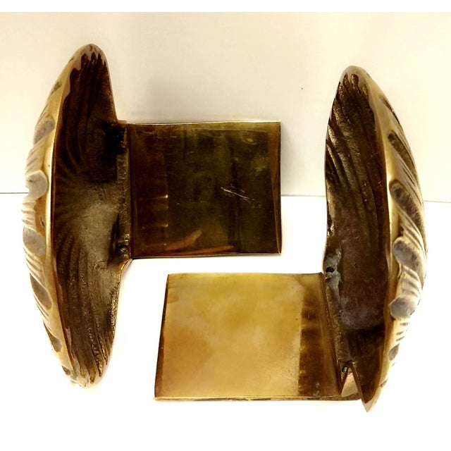 Image of Vintage Scallop Shell Brass Bookends - A Pair