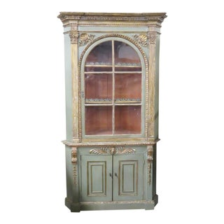 18th C. Empire Style Distressed Painted Corner Cabinet