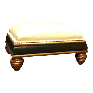 Brunschwig & Fils Leather Covered Footstool