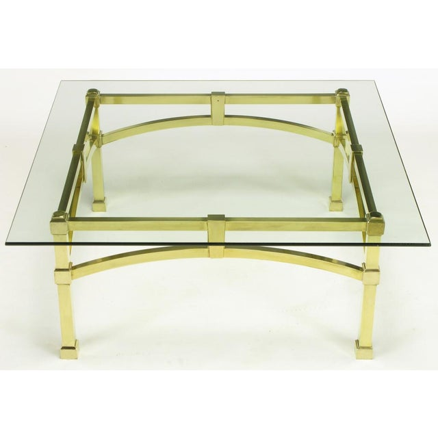 Italian Postmodern Architectural Brass & Glass Coffee Table - Image 4 of 10