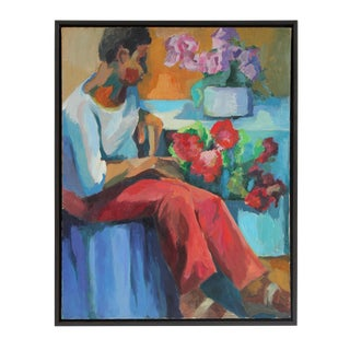 Mid-Century Portrait Painting with Flowers
