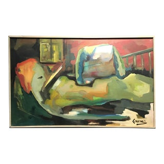 Mid-Century Abstract Oil on Canvas