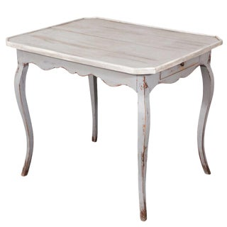 19th c. Louis XV Grey Painted Table