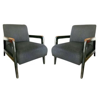 Mid-Century Cashmere Lounge Chairs - A Pair