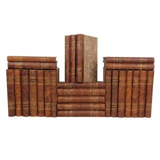 French Art Deco Leather-Bound Books - Set of 26