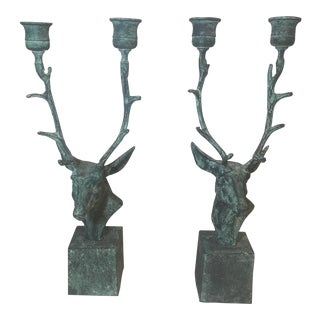 Verdigris Deer Candle Holders - A Pair