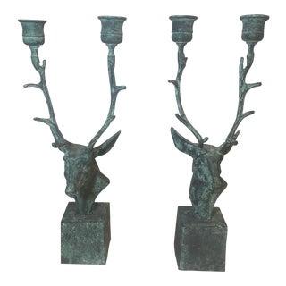 Verdigris Deer Candle Holders - A Pair