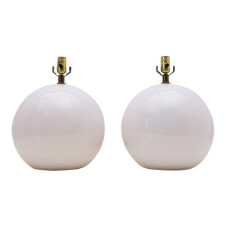 Mid-Century Minimalist White Round Ball Lamps - A Pair