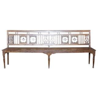 British Colonial Porcelain Tile Bench
