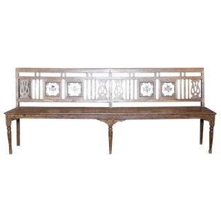 British Colonial Porcelain Tile Bench