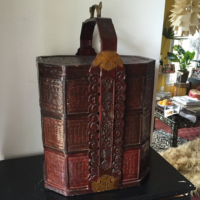 Chinoiserie 3 Tier Wedding Basket with Greek Key - Image 2 of 8