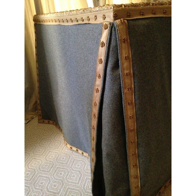 Wool Felt and Gold Braid Skirted Dressing Table with Antique French Mirror Top - Image 5 of 8