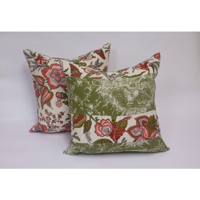 Toile & Vintage Floral Pillows - A Pai - Image 2 of 8