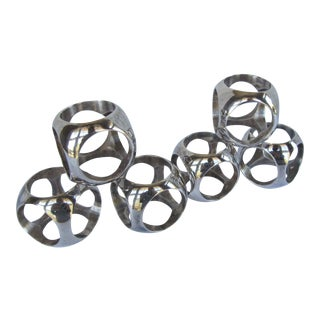 Vintage Mid Century Modern Silverplate Napkin Rings - Set of 6
