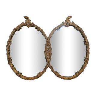Large Hollywood Regency Gilt Double Oval Mirror