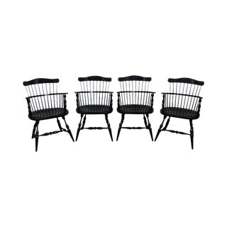 Duckloe Brothers Black Windsor Arm Chairs - Set of 4
