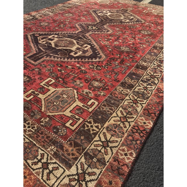 "Vintage Persian Shiraz Area Rug - 5'7""x8'1"" - Image 4 of 11"