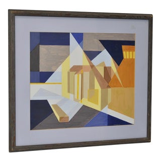 Vintage Geometric Abstract Oil Painting by H. Honegger