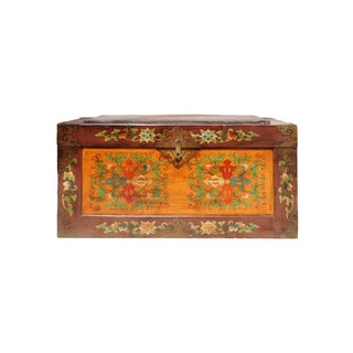 Tibetan Floral Orange Brown Wood Trunk Bench
