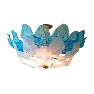 1960s Italian Murano Glass Leaf Chandelier
