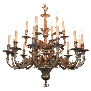 English 18-light Gilt Bronze Chandelier