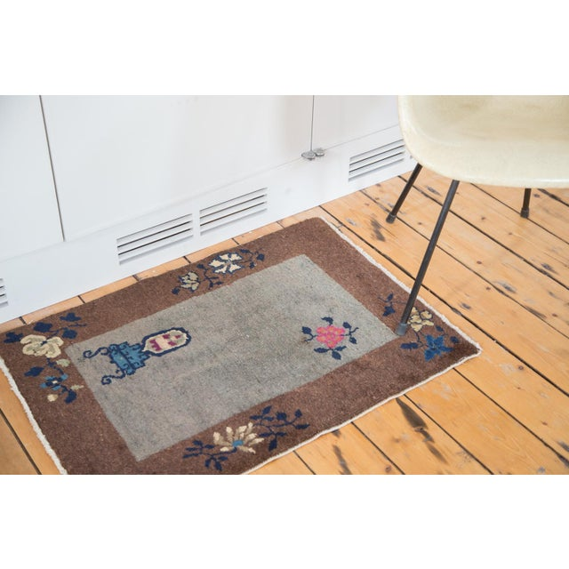"""Antique Art Deco Chinese Rug Mat - 2' X 2'11"""" - Image 2 of 7"""