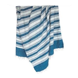 Blue & White Handwoven Striped Rug - 5′ × 8′6″